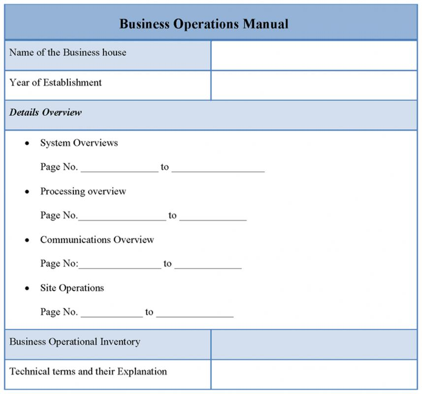 Operations manual template for restaurant